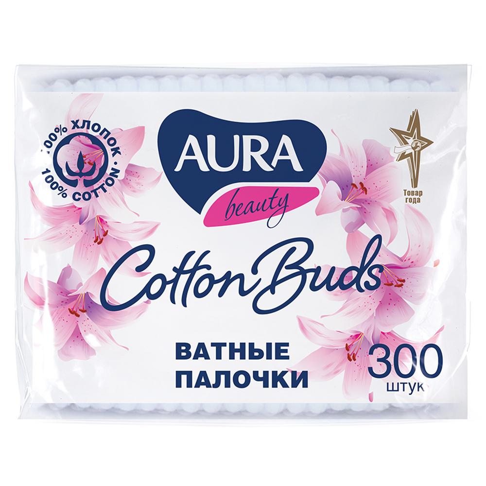 Ватные палочки AURA п/э пакет 300шт 04565