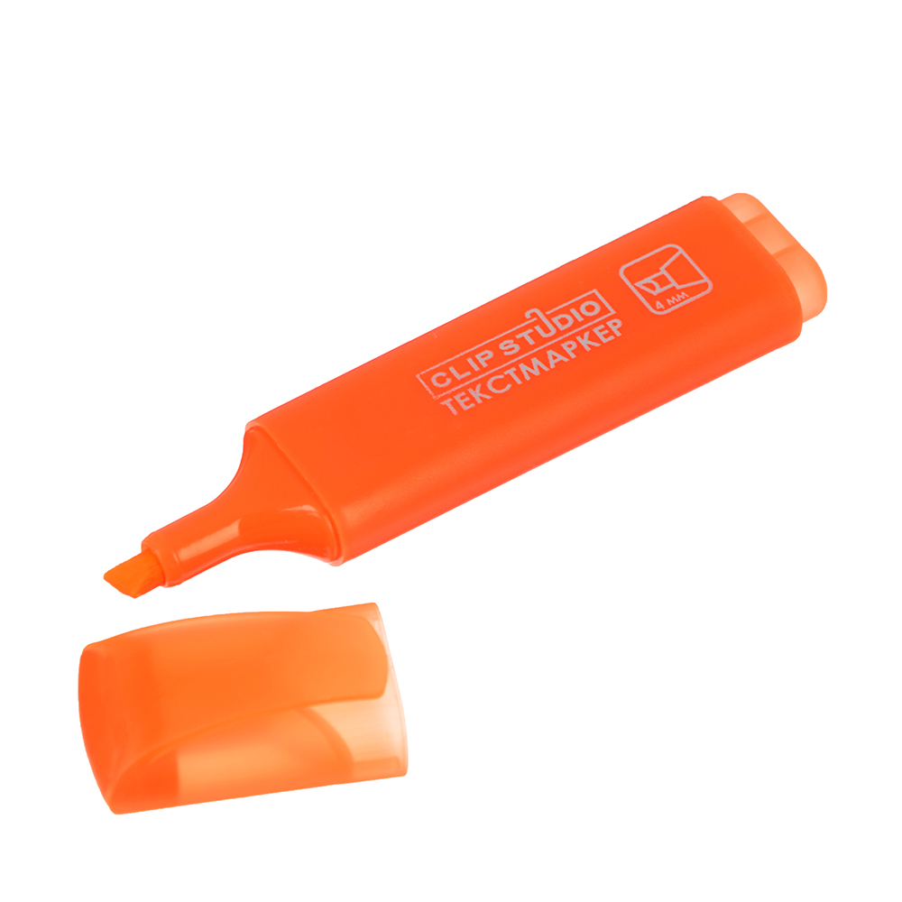 Маркер-выделитель оранжевый, скошенный наконечник, линия 4мм