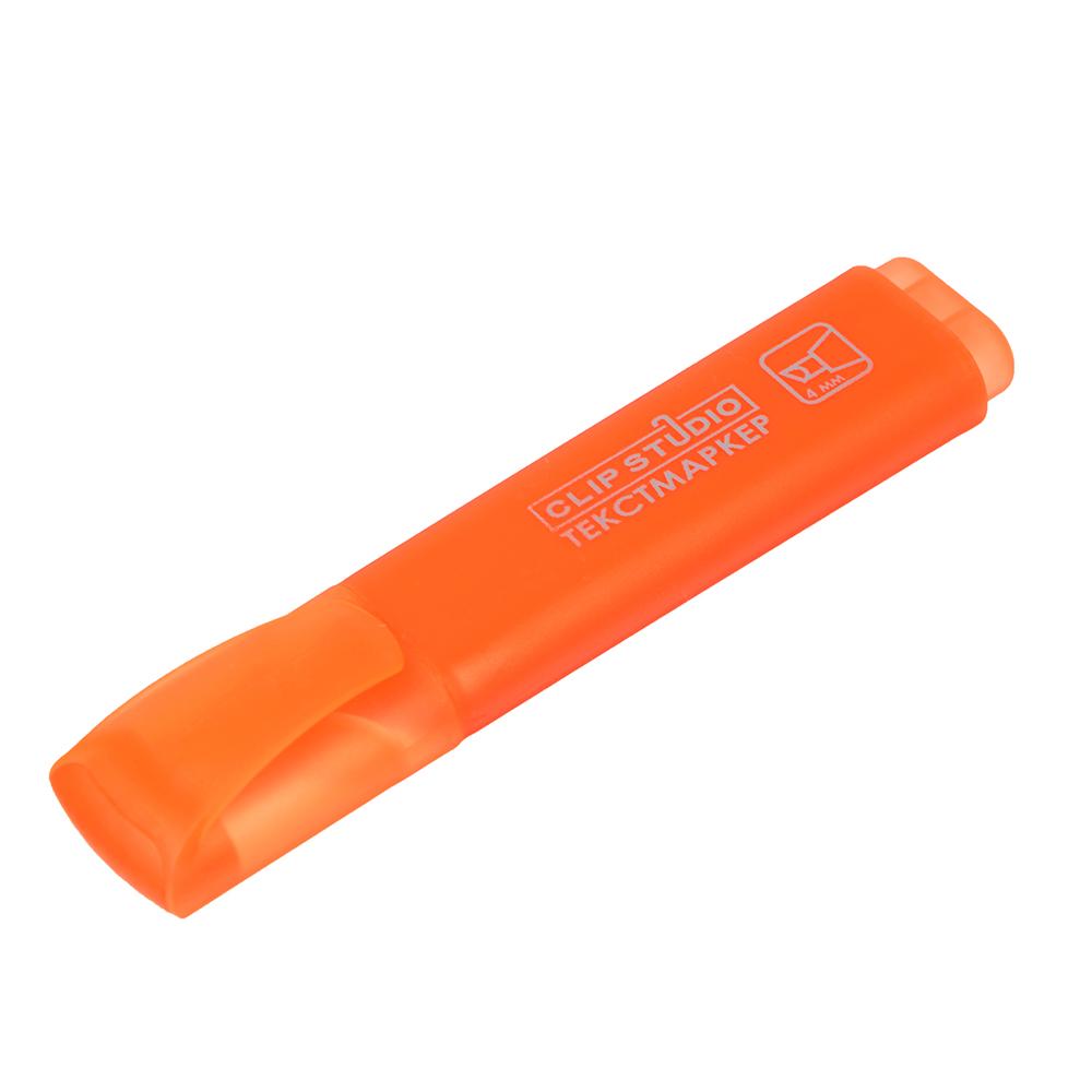 Текстовыделитель оранжевый, линия 4 мм, скошенный наконечник, плоский корпус