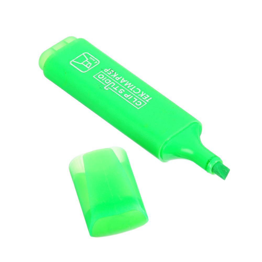 Текстовыделитель зеленый, линия 4 мм, скошенный наконечник, плоский корпус