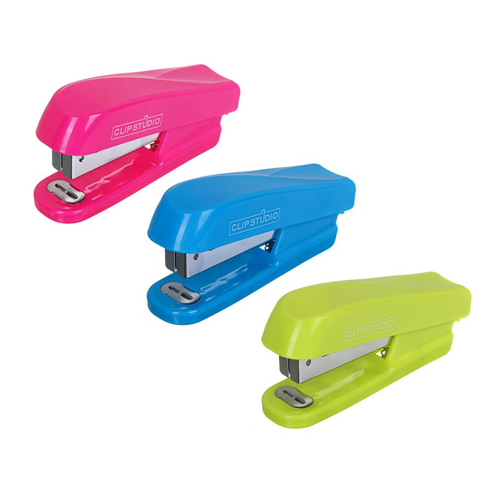 Степлер канцелярский средний для скоб №24/6, ассорти 3 цвета, в пластик.боксе с подвесом, 10,2x4,8 с