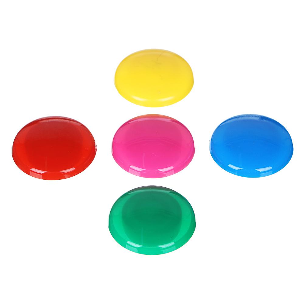 Набор магнитов d.3 см,, ассорти 5 цветов, на блистере