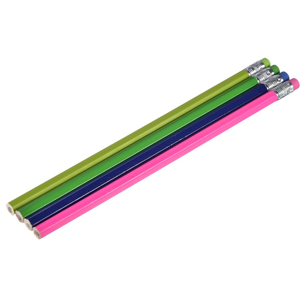 Карандаши ч/г с ластиком, набор 4 штуки, 4 цвета корпуса и ластика