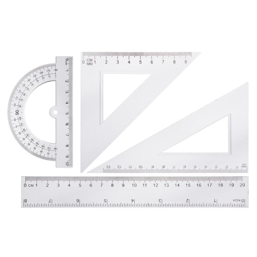 Геометрический набор, 4 предмета (линейка 20см, 2 угольника, транспортир) прозрачный