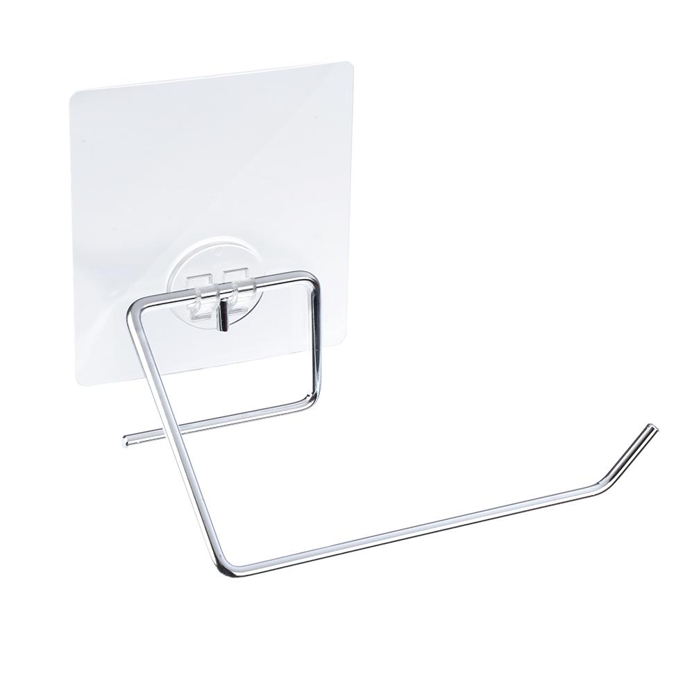 Держатель для туалетной бумаги хром с силиконовым креплением, 15x8,5x5см