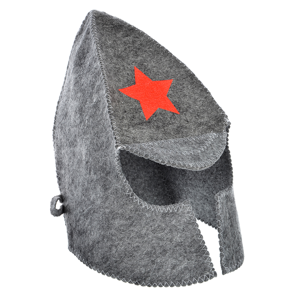 """Набор банный 2 пр. (шапка, варежка), """"Буденовец"""", белый, серый"""