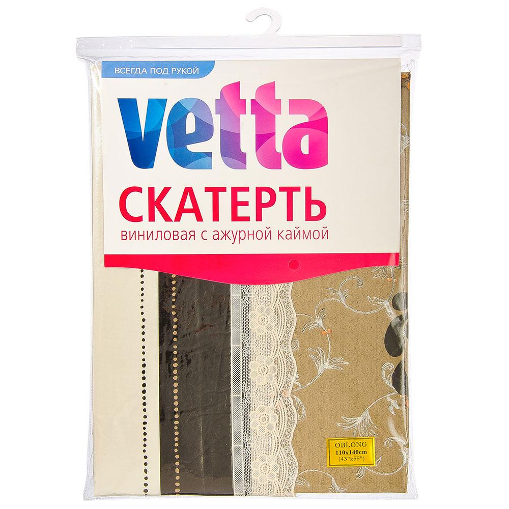 VETTA Скатерть виниловая на фланелевой основе с ажурной каймой, 110x140см, KT054