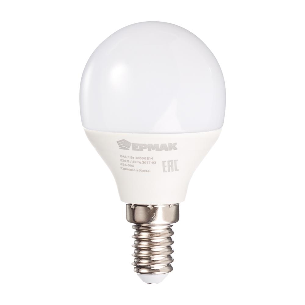 ЕРМАК Лампа светодиодная G45, 5 Вт, E14, 400 Лм, 3000К, теплый свет