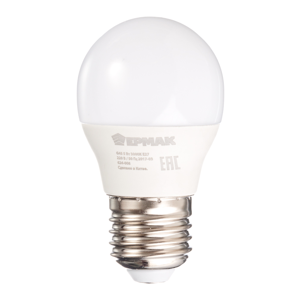 ЕРМАК Лампа светодиодная G45, 5 Вт, E27, 400 Лм, 3000К, теплый свет