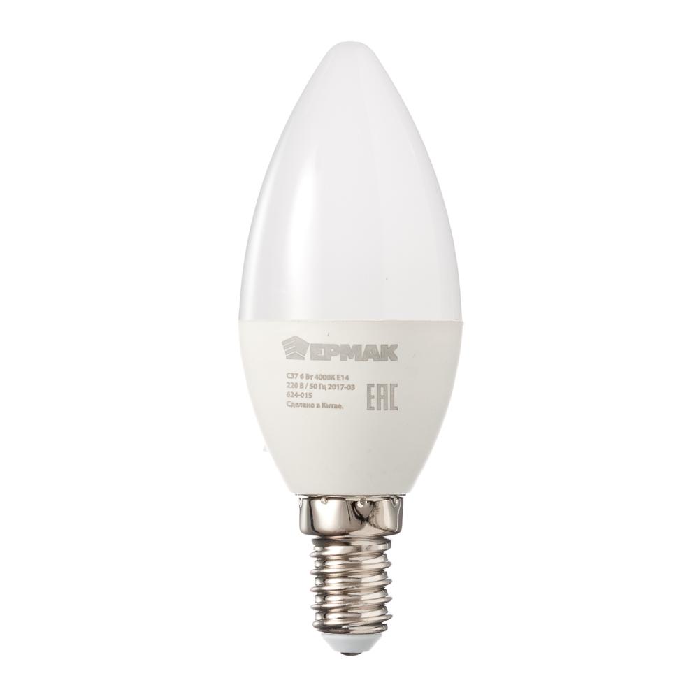 ЕРМАК Лампа светодиодная свеча С37, 6 Вт, E14, 480 Лм, 4000К, холодный свет