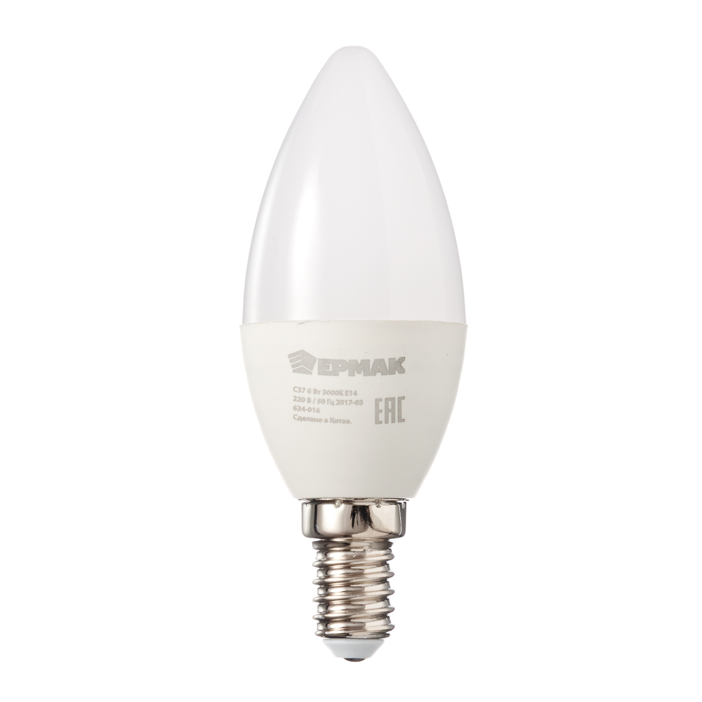 ЕРМАК Лампа светодиодная свеча С37, 6 Вт, E14, 480 Лм, 3000К, теплый свет