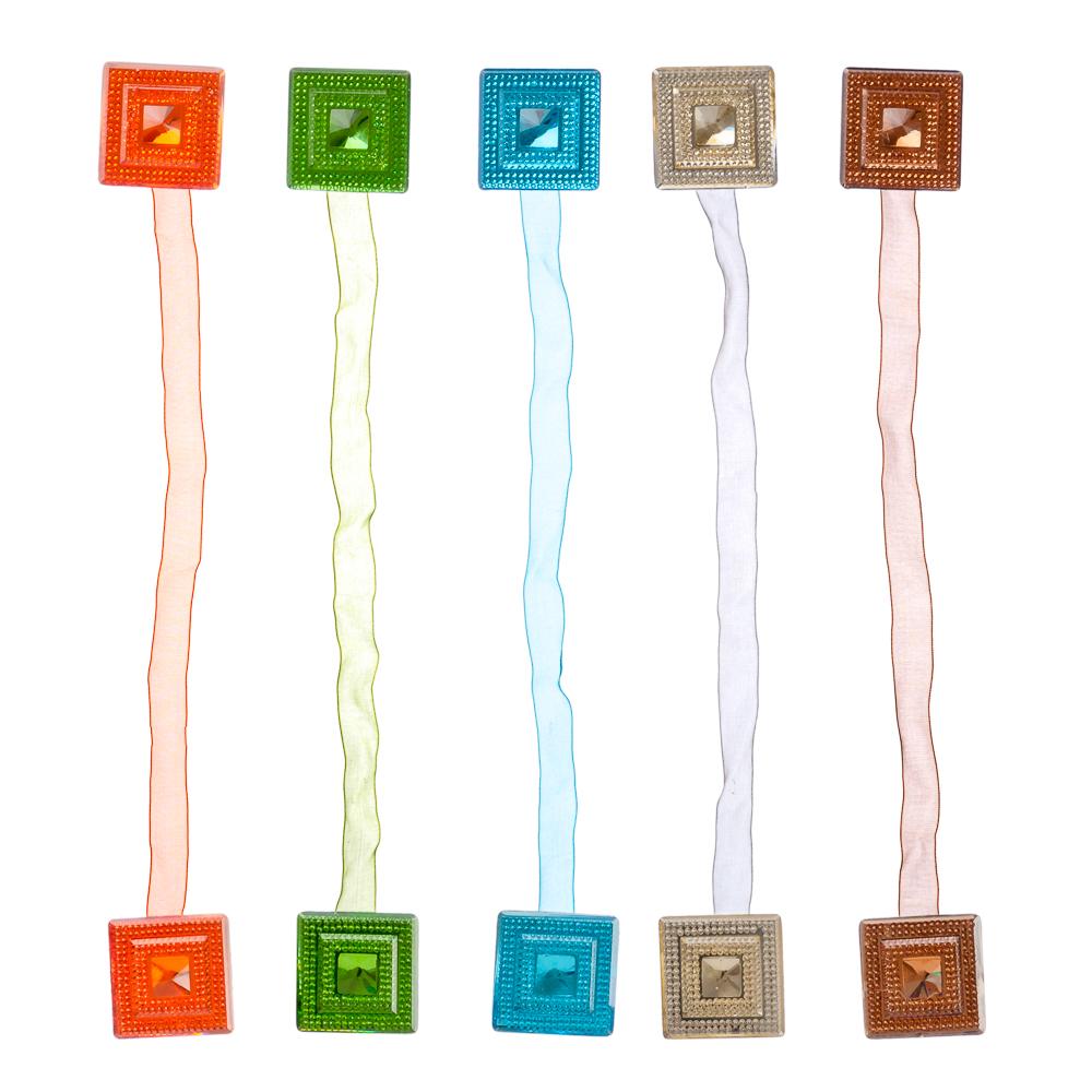 """Магнит для штор двухсторонний на капроновой ленте """"Блестящий квадрат"""", 4,5x4,5см, 4-5 цветов"""