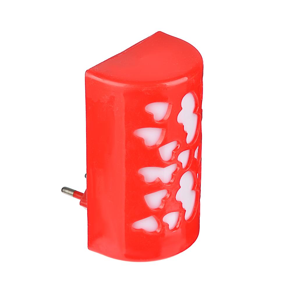 Светильник в розетку 1Вт, 220В, 10см, пластик, 2 дизайна, 4 цвета