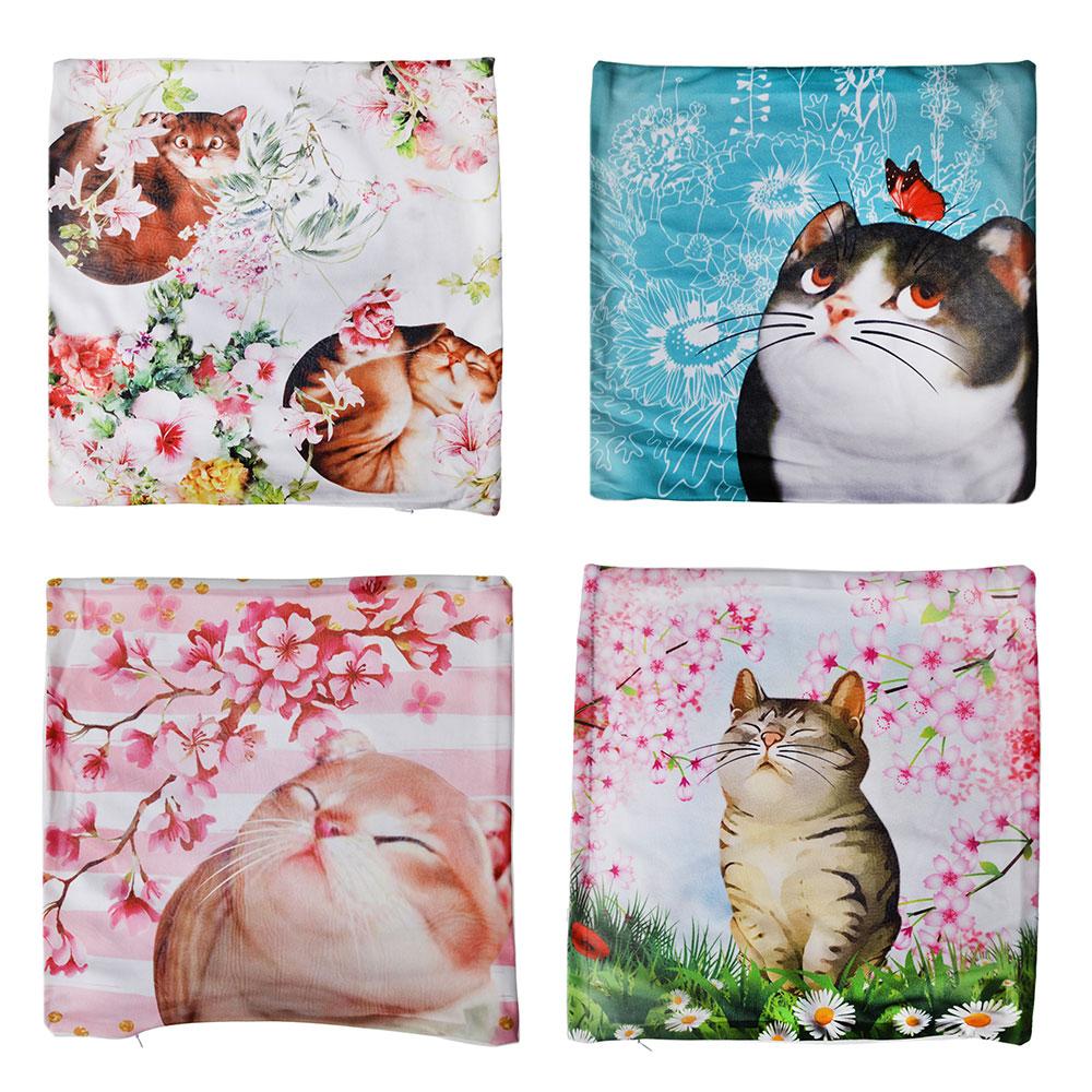 Наволочка декоративная, велюр, 40x40см, 4 дизайна, дизайн GC Gala Cats