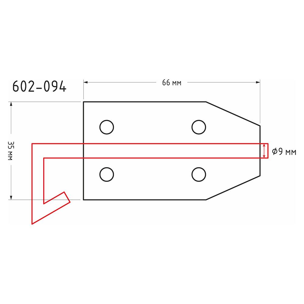Засов дверной с проушиной, сталь, ЗД-66х35мм, d9мм, покрытие белый цинк