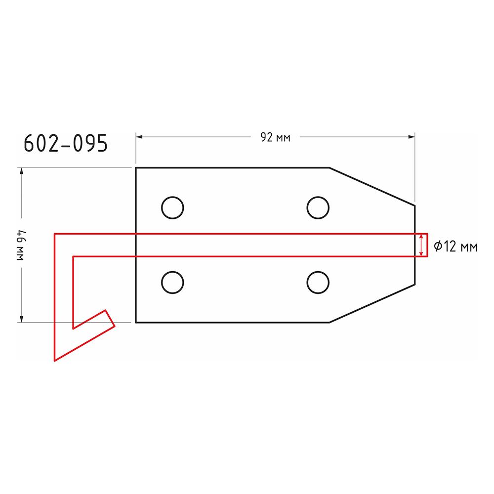 Засов дверной с проушиной, сталь, ЗД-92х46мм, d12мм, покрытие белый цинк
