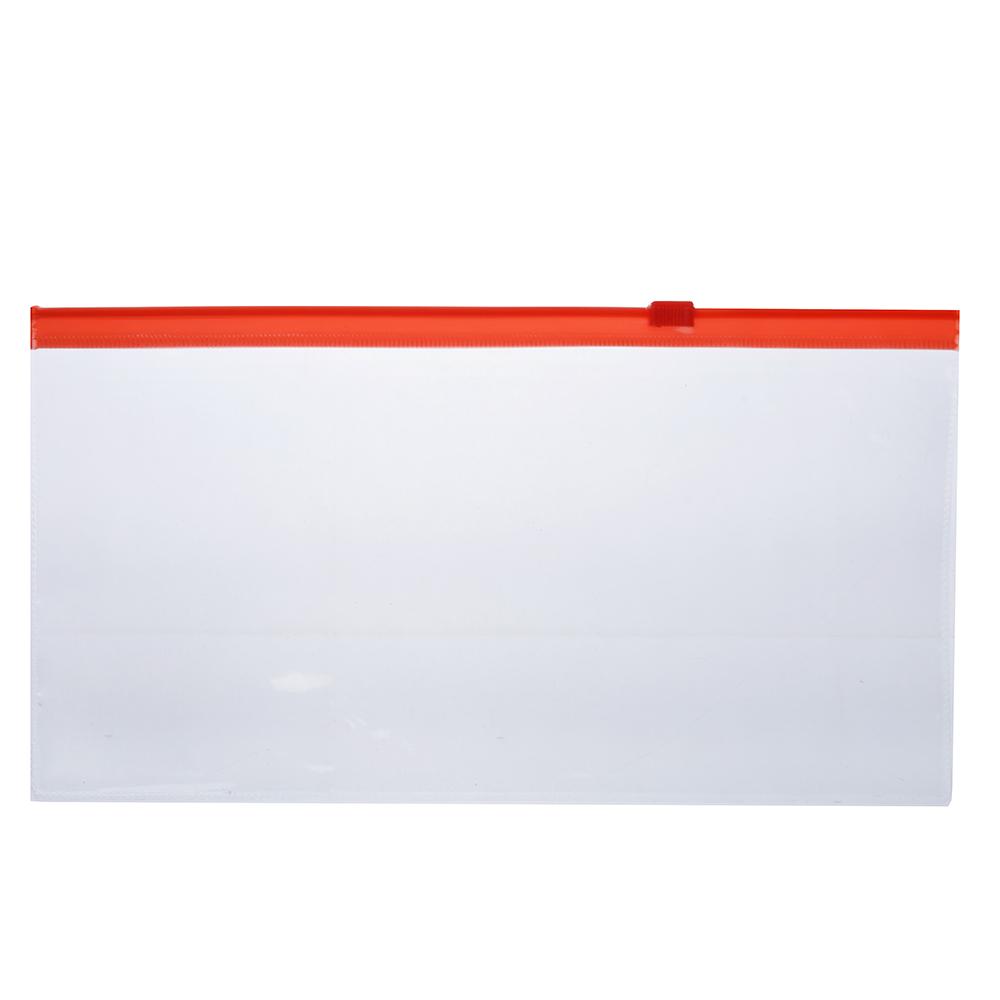Папка-конверт на молнии 11x22 см, прозрачная