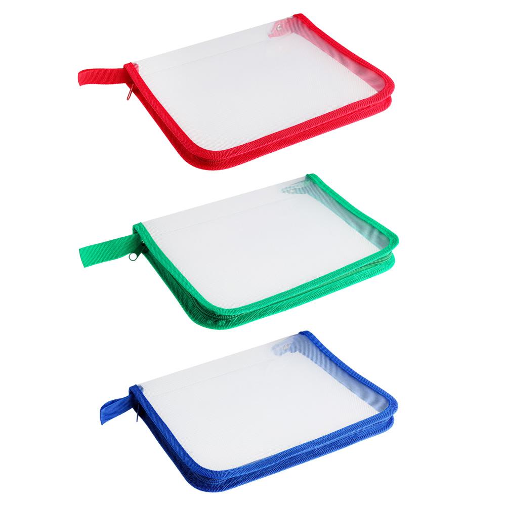 Папка для тетрадей А5, на круговой молнии, 450 мкм, 3 цвета, на молнии