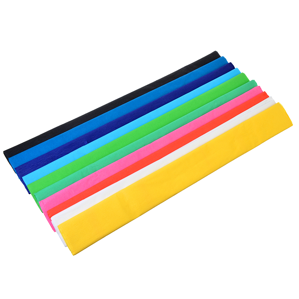 Гофрированная цветная бумага 10 цветов, 50х200см