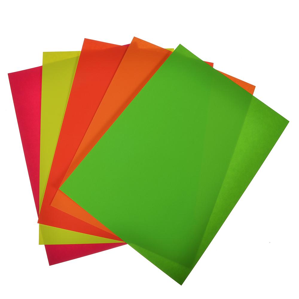 Цветная бумага неоновая самоклеящаяся 5 цветов, А4, 80 гр/м2