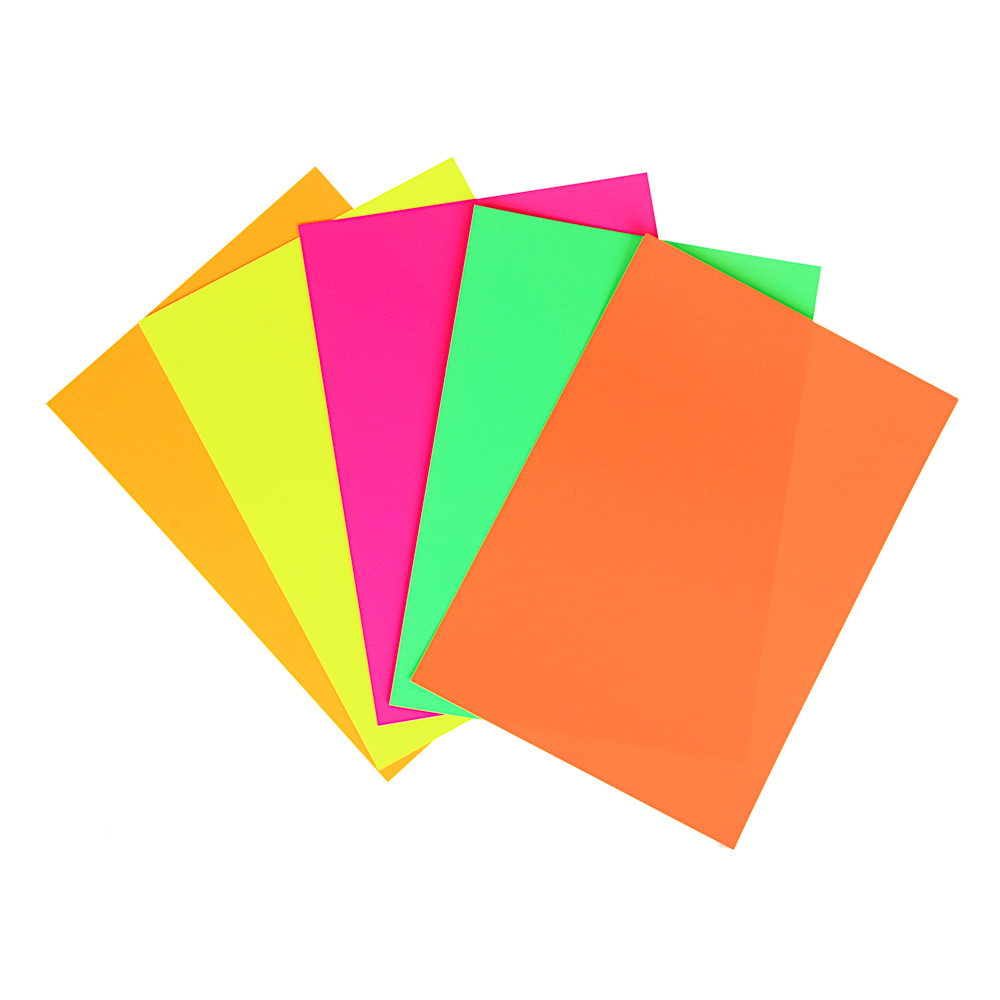 Цветной картон неоновый 5 цветов, А4, 250 гр/м2, в пакете