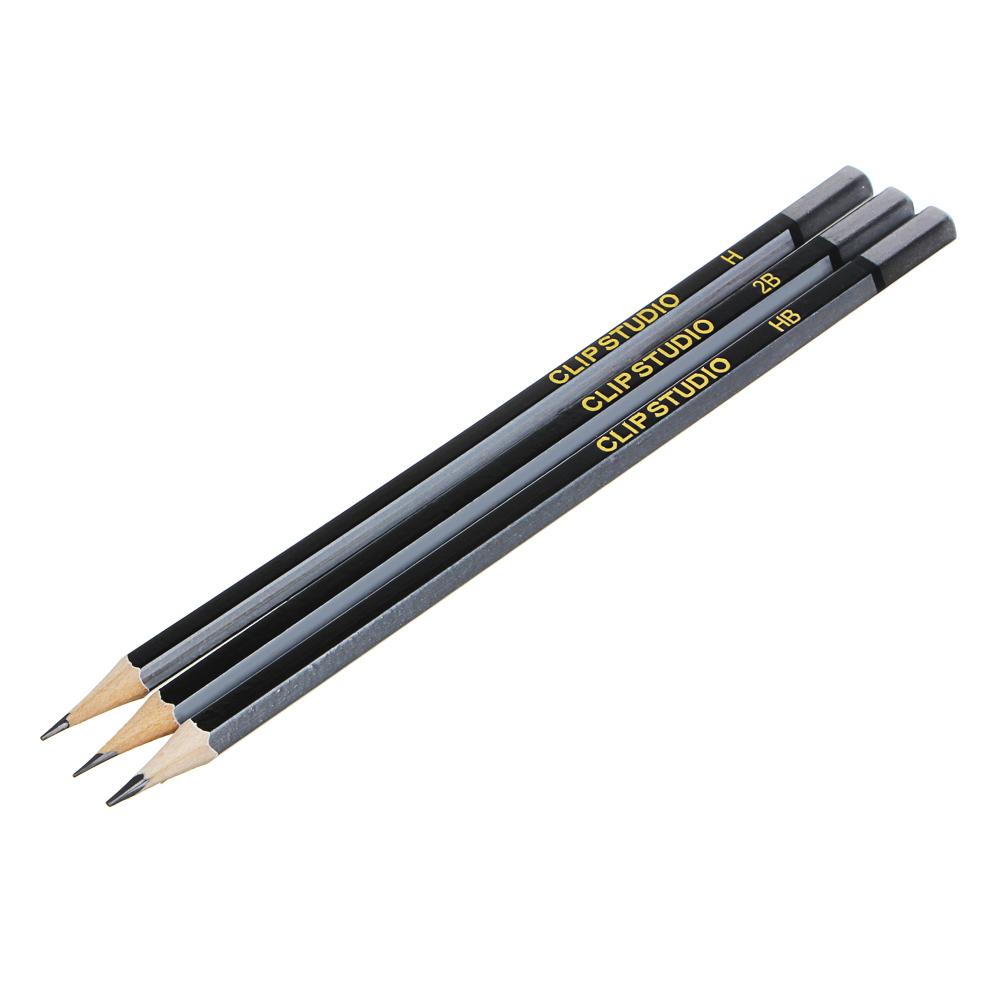 Карандаши чернографитные ClipStudio с ластиком, 3 шт. (2B, HB, H)