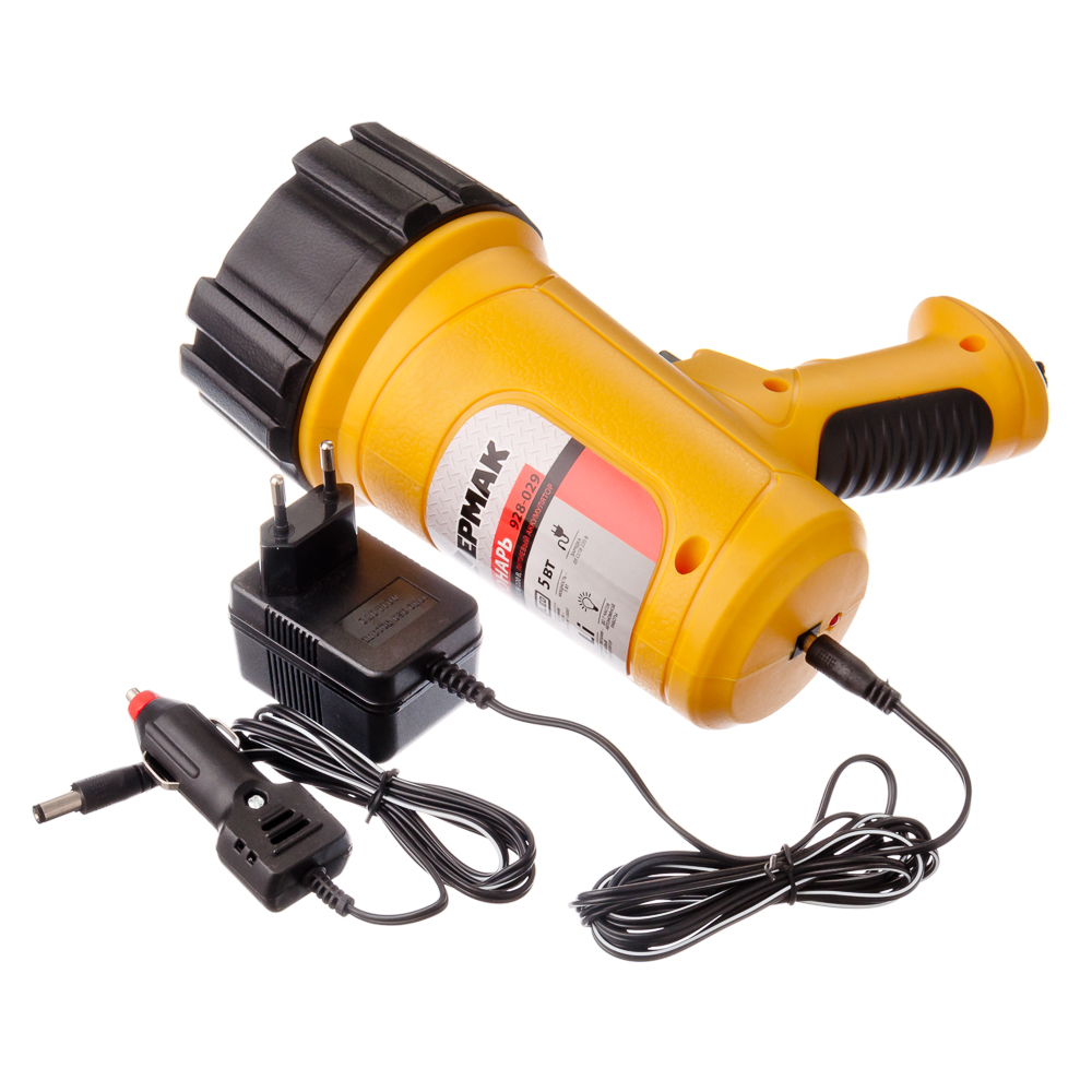 ЕРМАК Фонарь аккумуляторный, 5Вт, 1LED, заряд от прикур 12в + 220в, литиев.батарея