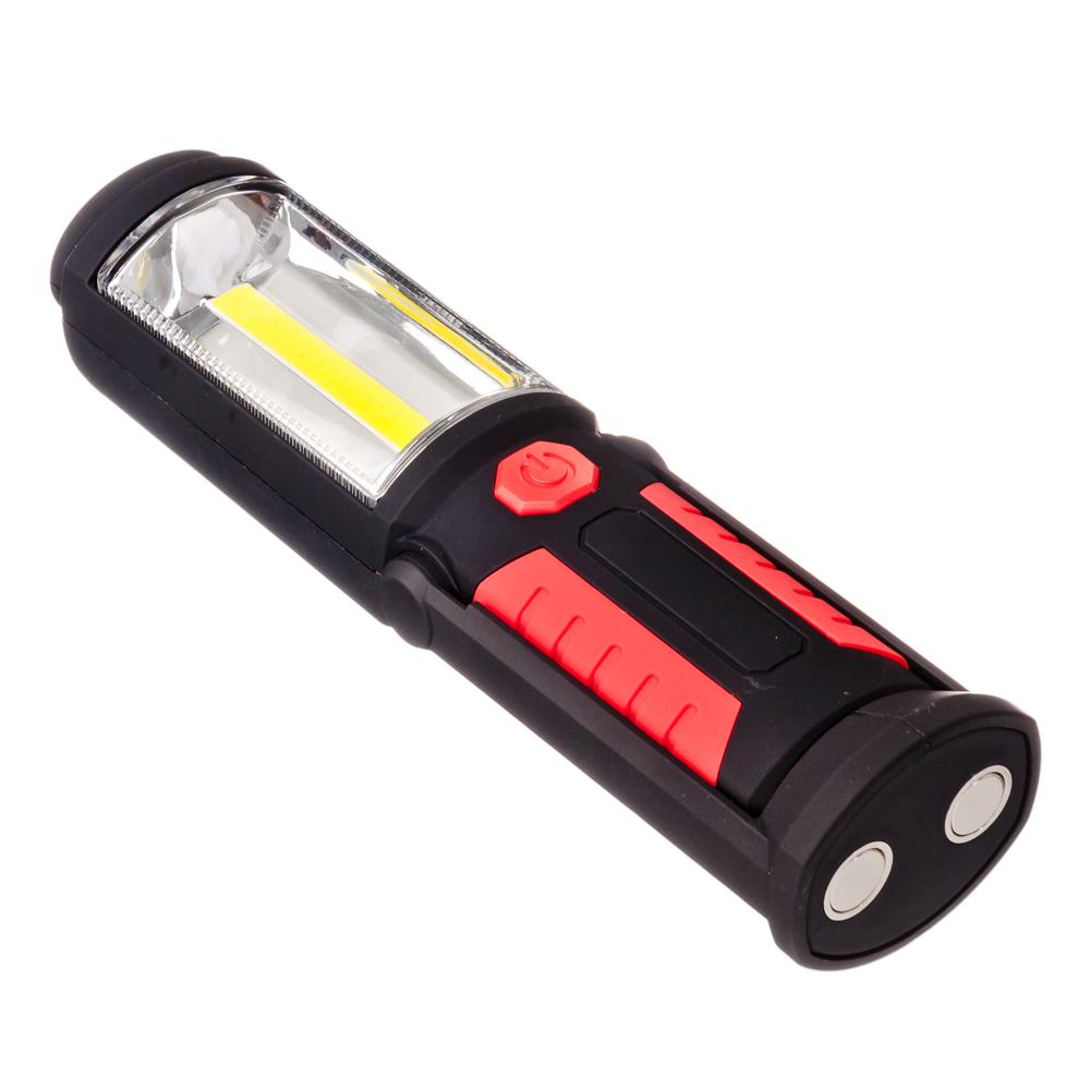 ЕРМАК Фонарь2Вт+0,5Вт, 1LED+1COB, магнит, 6x5x21,5см, питание 3АА (в комплект не входят)
