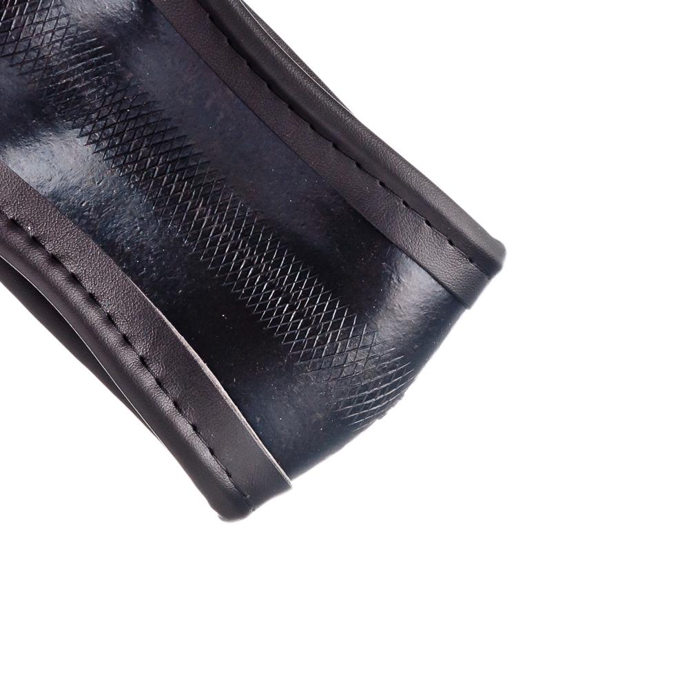NEW GALAXY Оплетка руля, экокожа, вставка из лакированной кожи, черный, разм. (М)