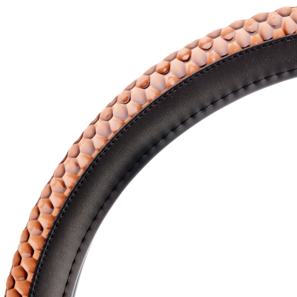 NEW GALAXY Оплетка руля, экокожа, вставка из лакированной кожи, черный/коричневый, разм. (М)