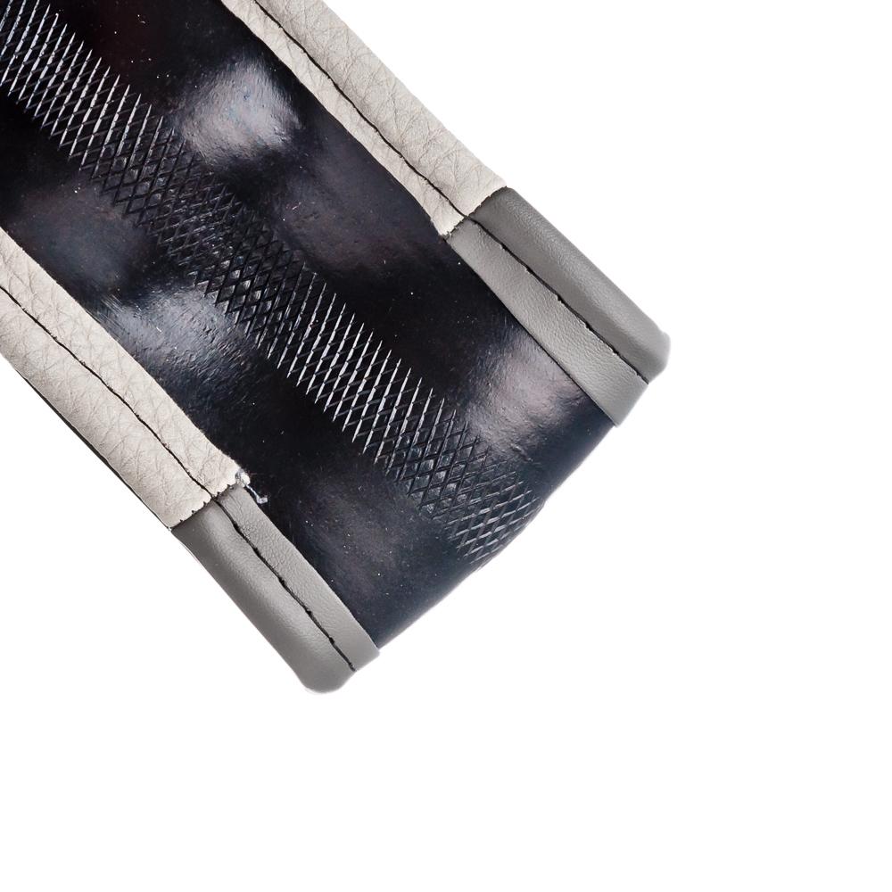 NEW GALAXY Оплетка руля, экокожа, вставки из под нубук, черный/серый, разм. (М)