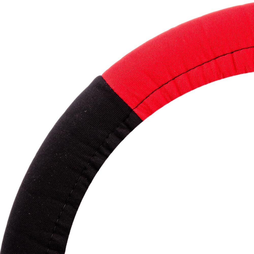 NEW GALAXY Оплетка руля, бескаркасная, полиэстер, черный/красный, разм. (М)