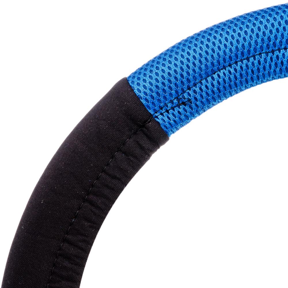 NEW GALAXY Оплетка руля, бескаркасная, черный/синий, разм. (М)