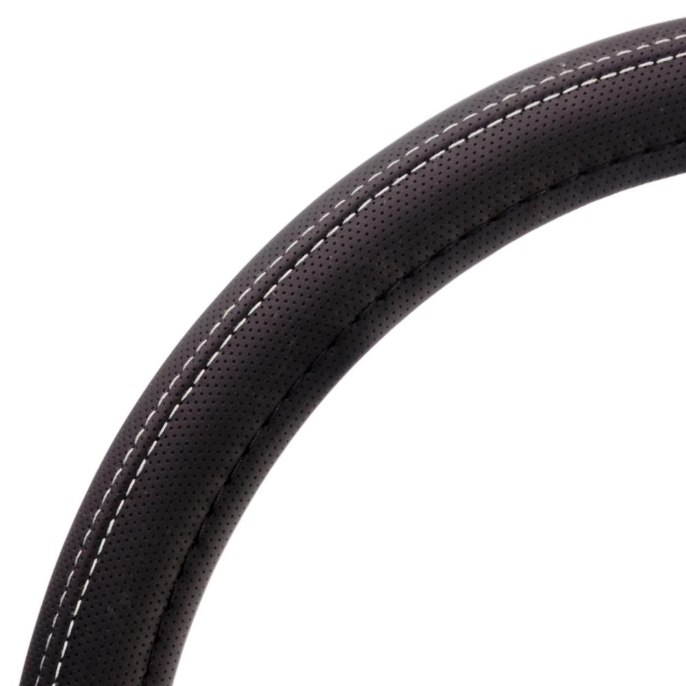 NEW GALAXY Оплетка руля, перфорированная экокожа + белая прострочка, черный, разм. (М)