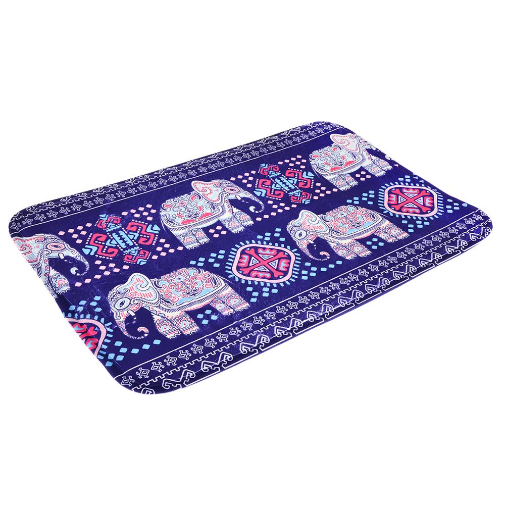 """VETTA Коврик для ванной флис, принт, губка, 1,2см, 40х60см, """"Индия"""" синий, Дизайн GC"""