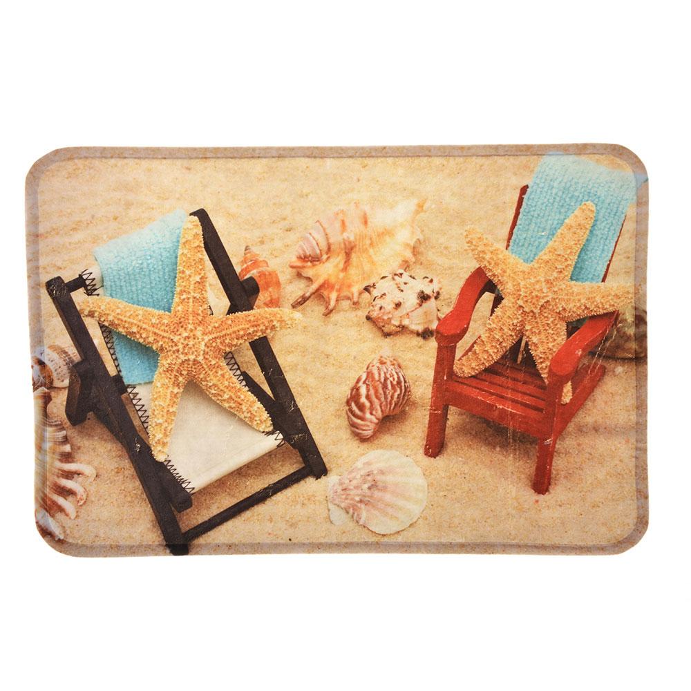 """VETTA Коврик для ванной флис, принт, губка, 0,4см, 40х60см, """"Морские звезды"""""""