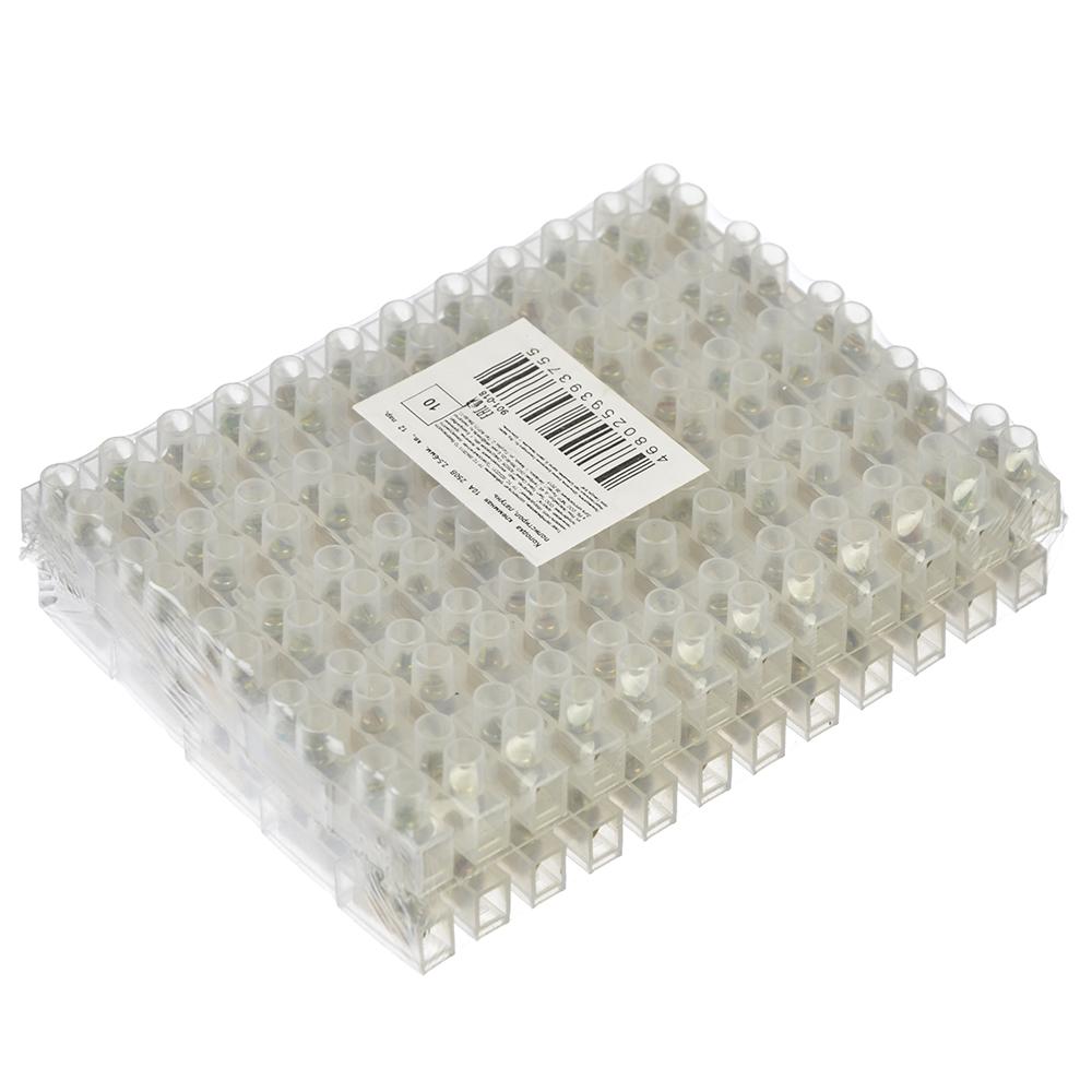 Набор колодок клеммных 10шт, 10А 250В 2,5-6мм. кв., 120 пар, полистирол, латунь