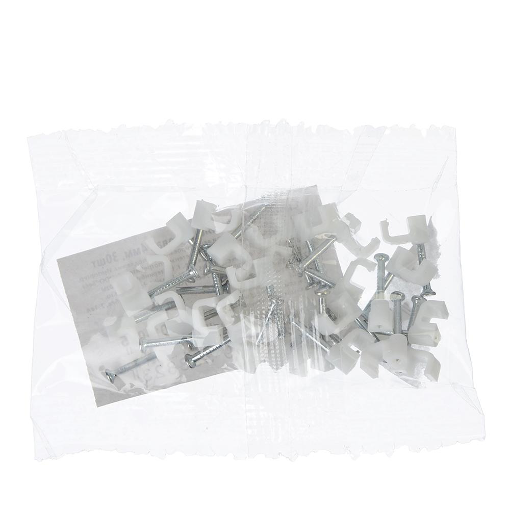 Скоба плоская пластиковая 4мм, 30шт