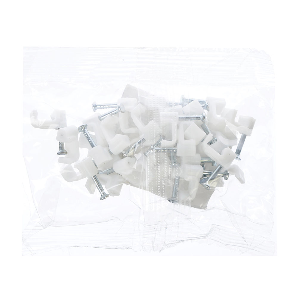Скоба плоская пластиковая 6мм, 30шт