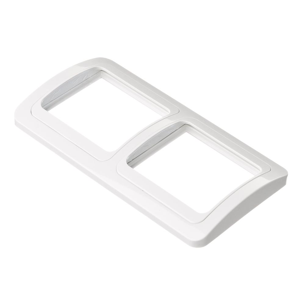 Рамка двухместная горизонтальная, пластик, 152х81мм, цвет белый, арт.F2200