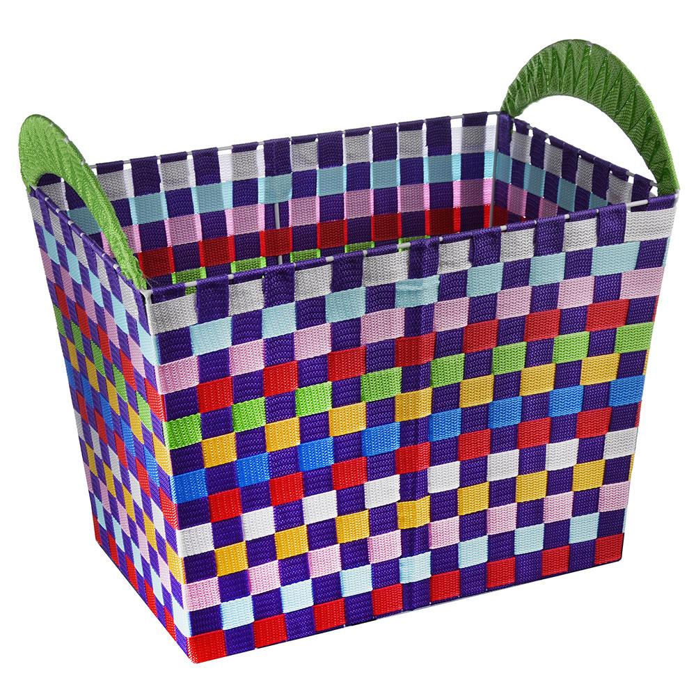 Корзина для белья плетеная, металл, текстиль, 48*32*42см, разноцветная