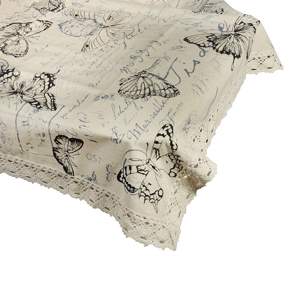 Скатерть льняная с кружевом на стол, полиэстер, 120x140см