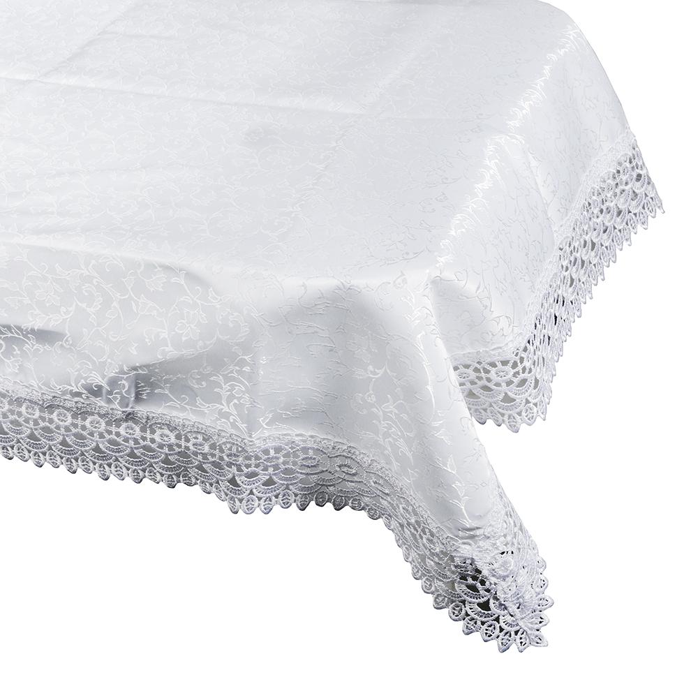 Скатерть жаккардовая с кружевом на стол, жаккард, 120x150см