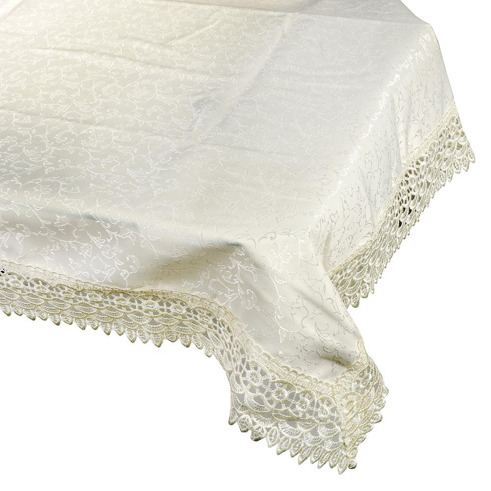 Скатерть жаккардовая с кружевом на стол, жаккард, 140x180см