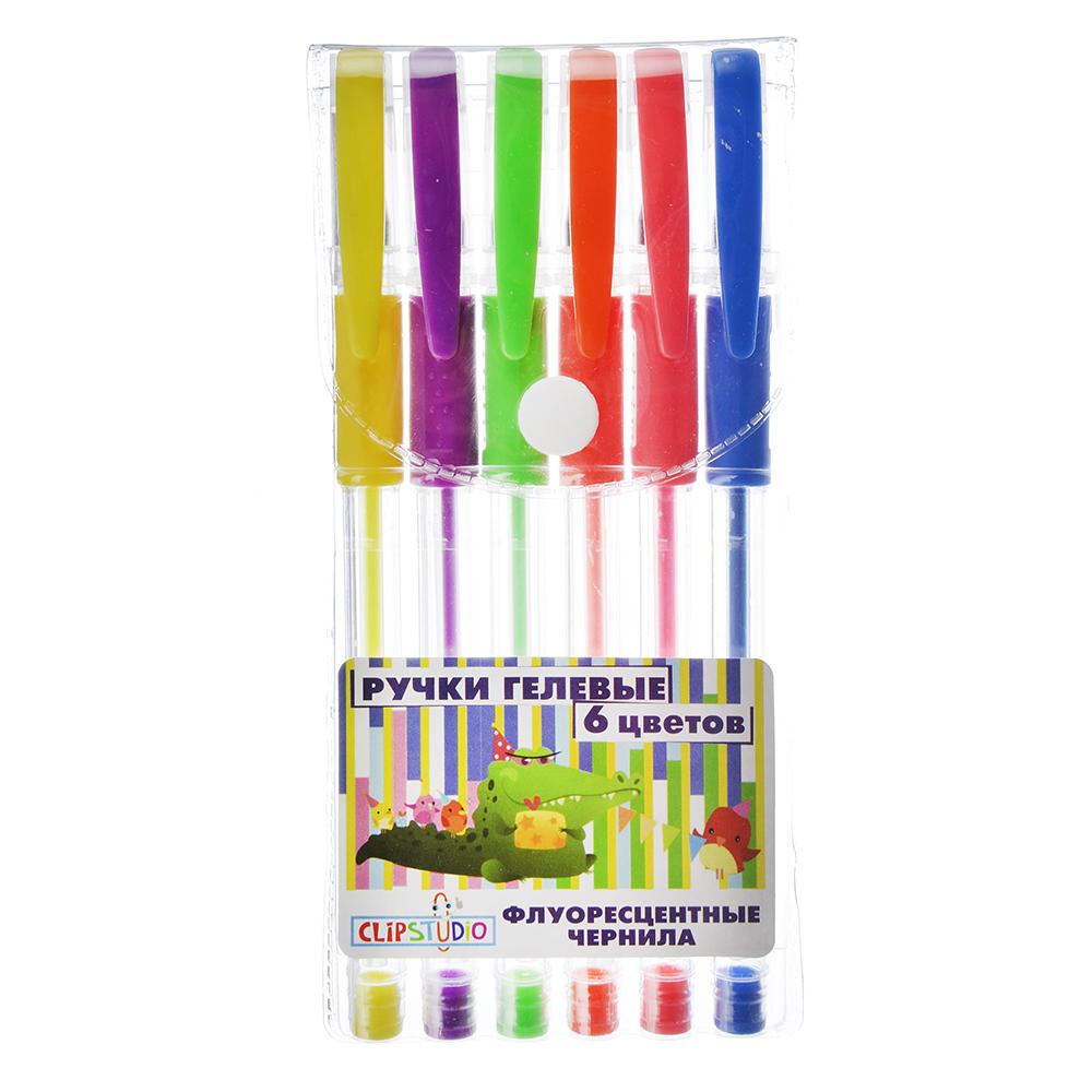 Набор гелевых ручек, 6 цветов флуоресцентных, 0,7 мм, в ПВХ пенале с подвесом, ClipStudio