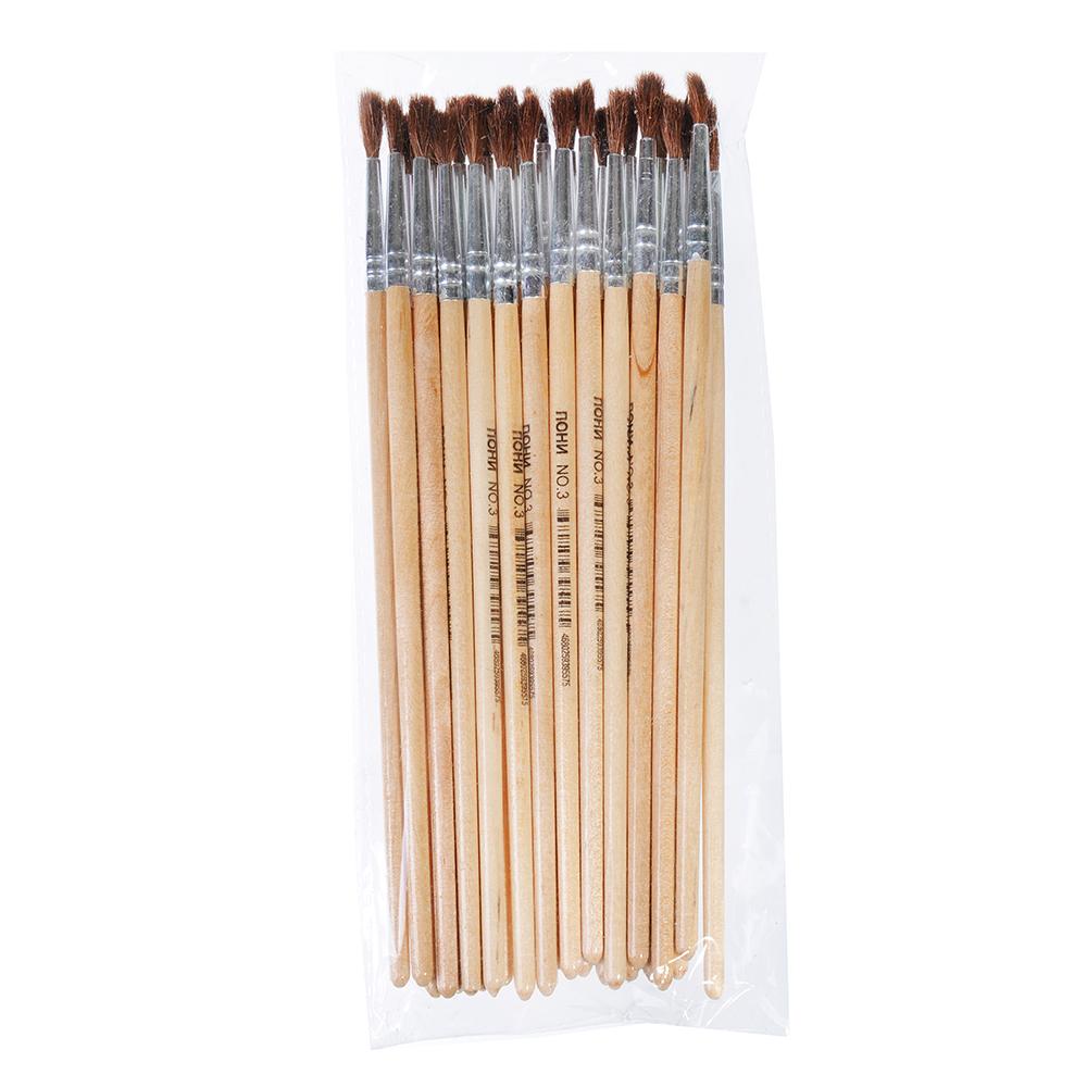 Кисть художественная волос Пони №3, деревянная ручка, металлическая оплетка