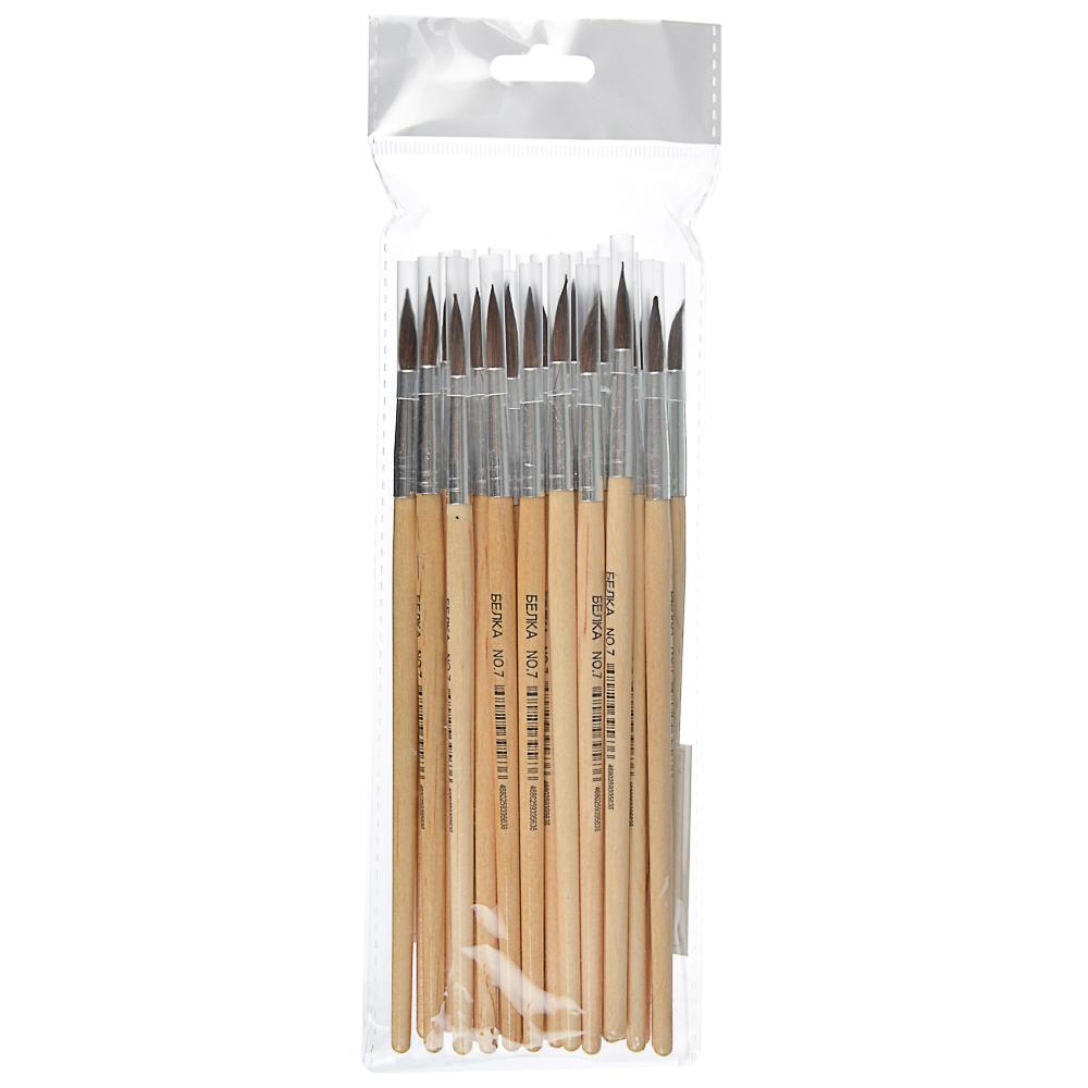Кисть художественная Белка №7, деревянная ручка, металлическая оплетка