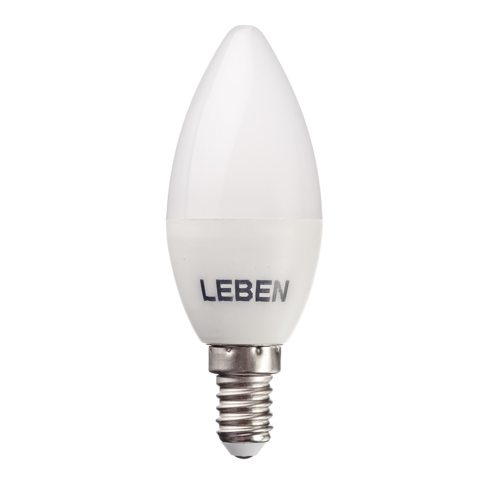 LEBEN Лампа светодиодная свеча С37 5W, E14, 400lm 4200К