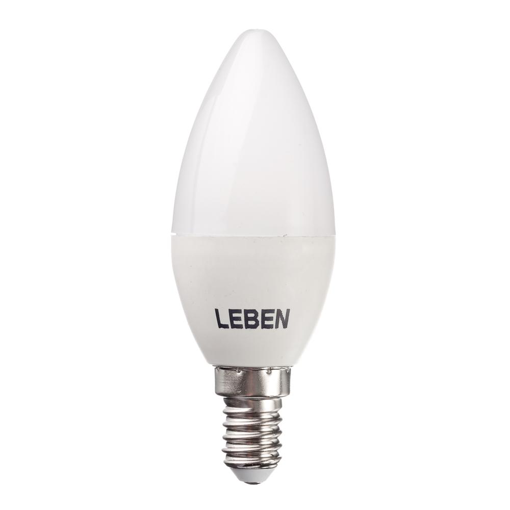 LEBEN Лампа светодиодная свеча С37 7W, E14, 560lm 4200К
