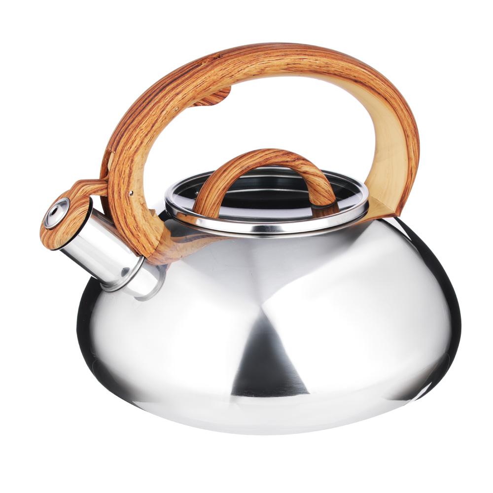 """Чайник стальной, зеркальный, стеклянная крышка, индукция, 3.0л, VETTA """"Ива"""""""